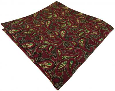 TigerTie Einstecktuch in bordeaux gold grün schwarz Paisley gemustert - Tuch