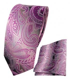 schmale TigerTie Seidenkrawatte + Einstecktuch lila magenta anthrazit Paisley