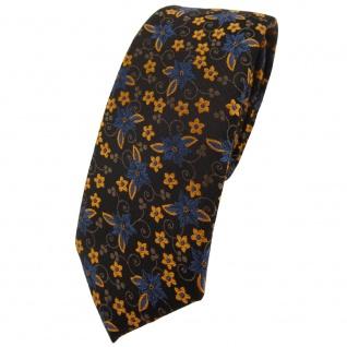 schmale TigerTie Krawatte in braun dunkelbraun bronze gold blau geblümt