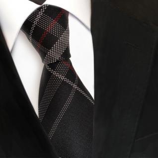 TigerTie Designer Seidenkrawatte schwarz rot silber kariert - Krawatte Seide Tie