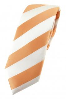 TigerTie - schmale Designer Krawatte in apricot weiss gestreift
