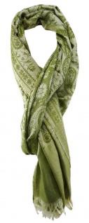 TigerTie Schal in grasgrün beige gemustert mit kleinen Fransen