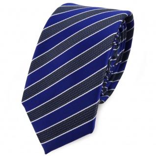 Schmale TigerTie Krawatte blau grau blaugrau silber gestreift - Schlips Binder