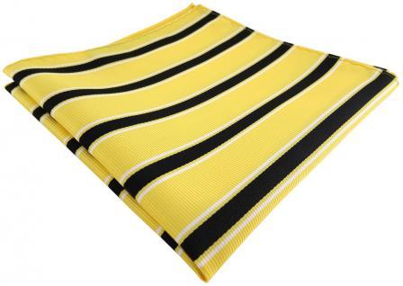 TigerTie Einstecktuch in gelb schwarz weiß gestreift - Stecktuch Tuch