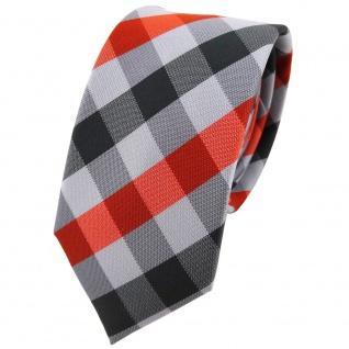 Schmale TigerTie Designer Krawatte in orange silber grau anthrazit kariert