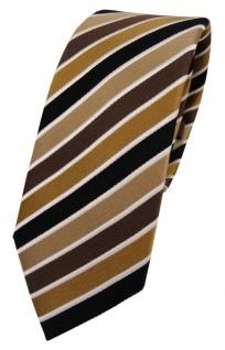 schmale TigerTie Designer Seidenkrawatte braun beige anthrazit creme gestreift