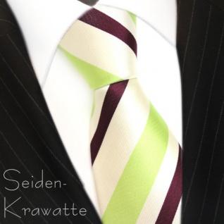 schöne Designer Seidenkrawatte in perlmutt grün magenta-fuchsia gestreift