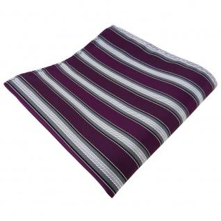 schönes Einstecktuch lila purpur grau silber schwarz gestreift - Tuch Polyester