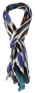 TigerTie - gecrashter Schal in blau dunkelbraun grau türkis braun gemustert