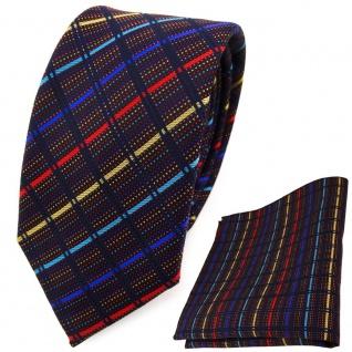 schmale TigerTie Krawatte + Einstecktuch gold rot blau türkis schwarz gestreift - Vorschau