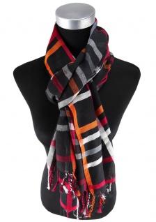 Damen Schal schwarz orange rot silber kariert Gr. 180 cm x 68 cm - Tuch Halstuch