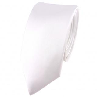 schmale TigerTie Satin Seidenkrawatte in weiss einfarbig - Krawatte 100% Seide