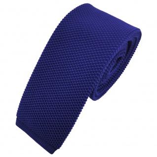 TigerTie - schmale Strickkrawatte blau royalblau einfarbig uni