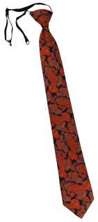 TigerTie Security Sicherheits Krawatte orange schwarz silber Paisley gemustert