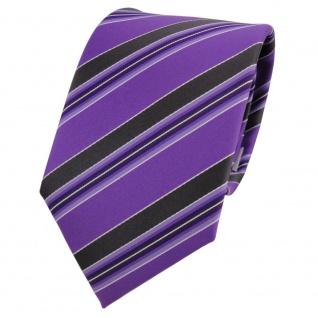 TigerTie Designer Krawatte lila violett schwarz weiß gestreift - Schlips Binder