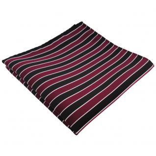 schönes Einstecktuch rot weinrot bordeaux schwarz silber gestreift - Polyester