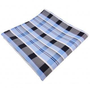 TigerTie Einstecktuch blau hellblau silber weiß marine kariert - Tuch Polyester