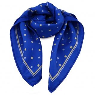 Damen Nickituch in Seide blau gelb gepunktet 53 x 53- Tuch Halstuch Schal