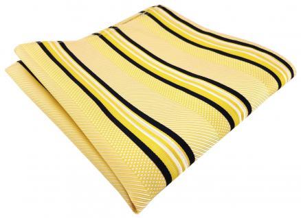 TigerTie Seideneinstecktuch gelb weiß schwarz gestreift - Gr. 30 x 30 cm