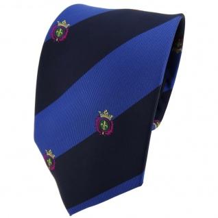 TigerTie Krawatte blau saphirblau dunkelblau gestreift mit Wappen - Tie Binder