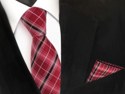 TigerTie Krawatte + Einstecktuch rot signalrot silber schwarz kariert Polyester