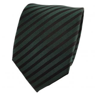 Designer Seidenkrawatte grün dunkelgrün schwarz gestreift - Krawatte Seide Tie
