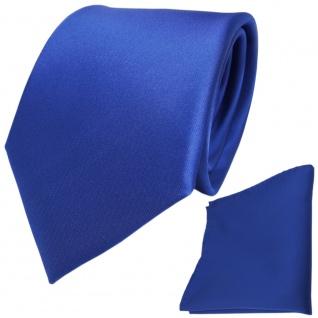 schöne Designer TigerTie Krawatte + Einstecktuch in Satin blau uni - Tie Binder