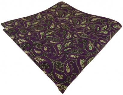 TigerTie Einstecktuch in lila gold grün schwarz Paisley gemustert - Stecktuch