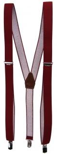 schmaler Hosenträger in rot bordeaux Uni mit Clip - verstellbar 75 bis 120 cm