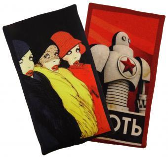Ziertuch Seide mit stabiler Einlage - 2er Set Spielkarten schwarz gelb rot grau