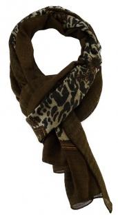 TigerTie Halstuch in dunkelbraun braun grau schwarz gemustert - Gr. 120 x 120 cm
