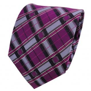 TigerTie Designer Seidenkrawatte magenta blau schwarz kariert - Krawatte Seide