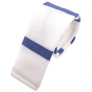 Schmale Strickkrawatte weiß blau fernblau gestreift - Krawatte Polyester Tie