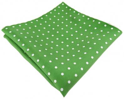 Seideneinstecktuch grün silberweiss gepunktet - Einstecktuch 100% reine Seide