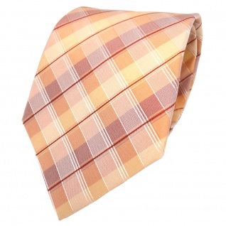 Seidenkrawatte orange gelb rot silber kariert - Krawatte Seide Silk