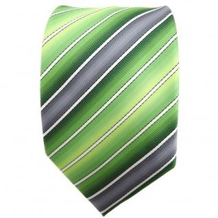 TigerTie Krawatte grün hellgrün grau creme gestreift - Binder Tie - Vorschau 2