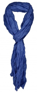 gecrashter TigerTie Seidenschal in blau royal einfarbig - Schal Gr. 180 x 50 cm