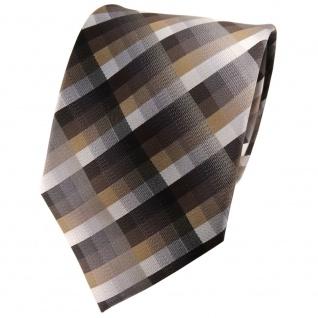 TigerTie Seidenkrawatte braun anthrazit silber grau kariert -Krawatte 100% Seide