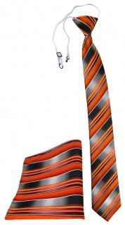 TigerTie Sicherheits Krawatte + Einstecktuch orange anthrazit grau gestreift