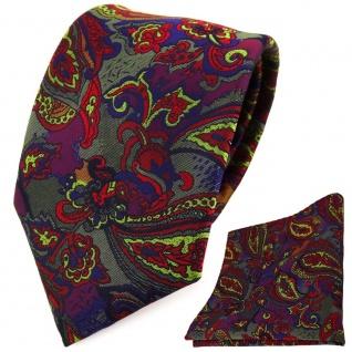TigerTie Designer Krawatte + Einstecktuch violett olive rot blau Paisley