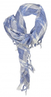 Halstuch in blau grau weiss gemustert mit Fransen - Gr. 90 x 90 cm