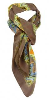 Halstuch Chiffon Satin in braun gelb orange grün blau silber schwarz gemustert - Vorschau