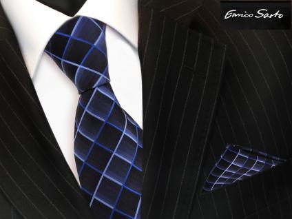 Enrico Sarto Seidenkrawatte & Einstecktuch blau dunkelblau kariert