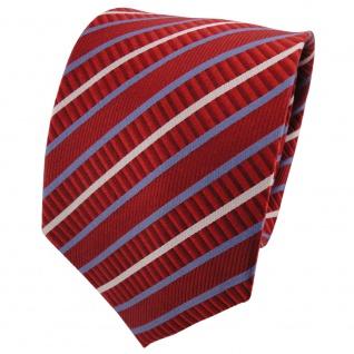TigerTie Seidenkrawatte orange dunkelorange blau silber gestreift - Krawatte