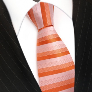 feine Designer Krawatte in rot orange grau gestreift 100% Seide - Vorschau 3