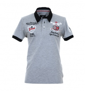 Pontto Herren Designer Polo Hemd Shirt grau kurzarm Gr. S - Polohemd Poloshirt