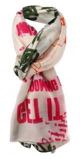 Damen Schal orange rot oliv creme mit Motiv Gr. 180 cm x 105 cm - Tuch Halstuch