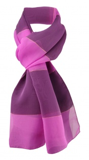Damen Chiffon Halstuch magenta lila gestreift Gr. 165 cm x 40 cm - Tuch Schal