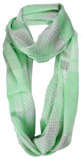 Damen Loop Schal in grün weiß grau gemustert mit Fransen - Gr. 180 x 50 cm