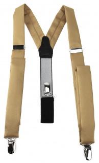 schmaler TigerTie Unisex Hosenträger mit 3 extra starken Clips - dunkelgold Uni